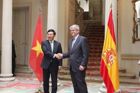 Cancilleres de Vietnam y Espana destacan fructifero desarrollo de relaciones bilaterales hinh anh 1
