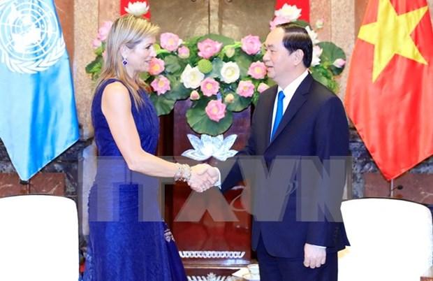 Presidente de Vietnam recibe a Reina Maxima de Paises Bajos hinh anh 1