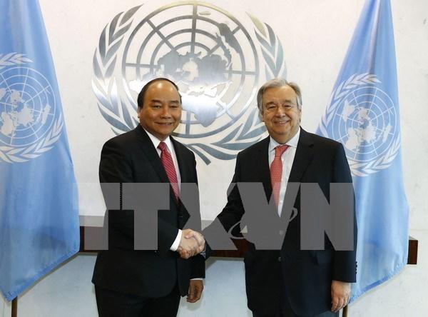 Premier de Vietnam se reune con secretario general de la ONU hinh anh 1