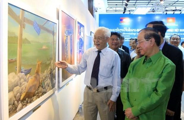 Exposicion artistica Vietnam – Laos en saludo a 55 aniversario de nexos bilaterales hinh anh 1