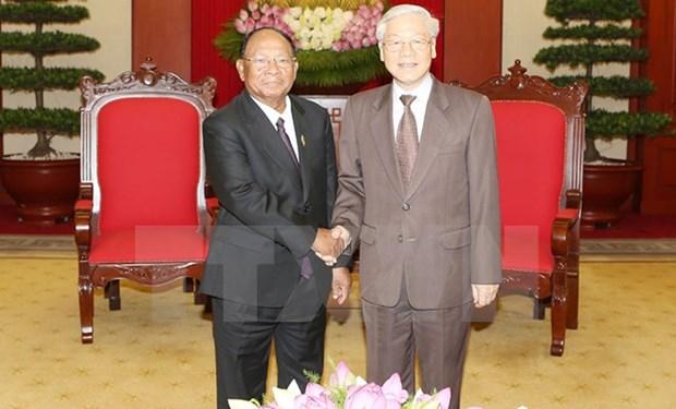 Maximo dirigente partidista de Vietnam resalta amistad con Camboya hinh anh 1
