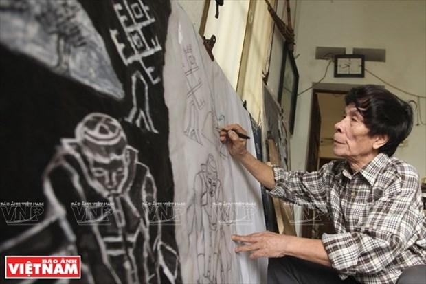 El alma del pueblo en grabados en madera de Tran Nguyen Dan hinh anh 1