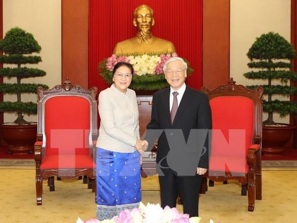 Presidenta del Parlamento laosiano termina visita a Vietnam hinh anh 1