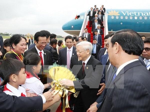 Efectuan en Camboya acto de recibimiento oficial a secretario general de PCV hinh anh 1