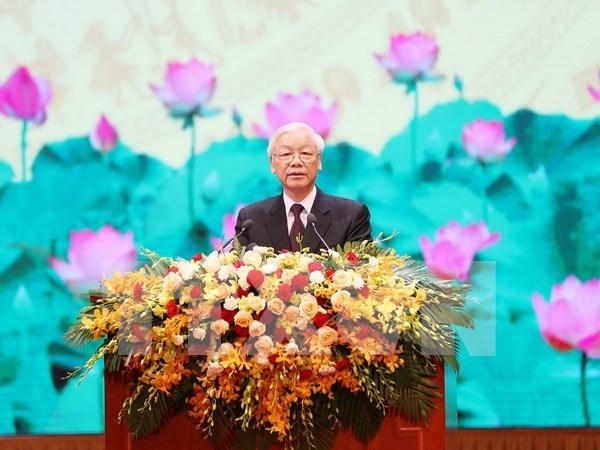 Dirigente partidista vietnamita pide aumentar asistencia a personas con meritos revolucionarios hinh anh 1