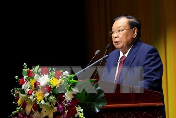 Dirigentes vietnamitas felicitan a secretario general de PPRL y presidente de Laos por su 80 cumpleanos hinh anh 1