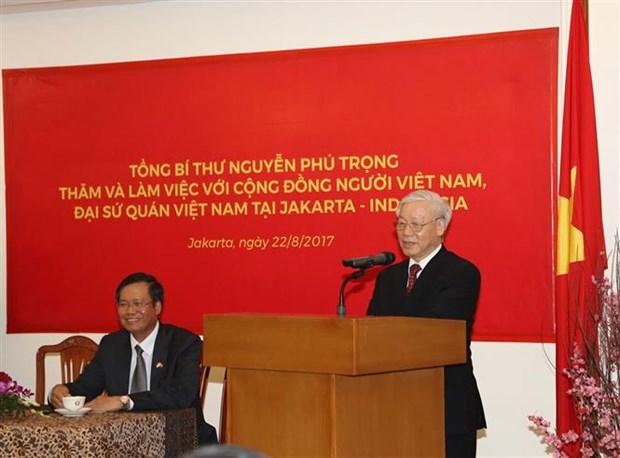 Maximo dirigente partidista de Vietnam aboga por profundizar lazos con Indonesia hinh anh 1