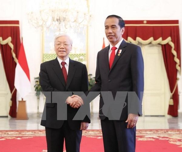 Maximo dirigente partidista de Vietnam envia mensaje de agradecimiento al presidente de Indonesia hinh anh 1
