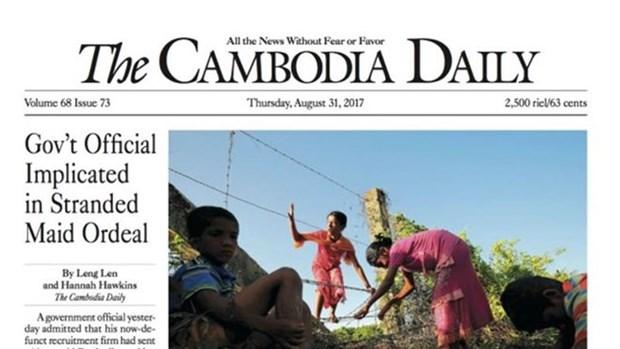 """""""The Cambodia Daily"""" suspende su actividad por deuda arancelaria hinh anh 1"""