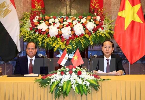 Presidente de Vietnam recibe a su homologo de Egipto hinh anh 1