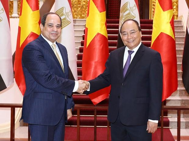 Premier de Vietnam apoya elevar intercambio comercial con Egipto hinh anh 1