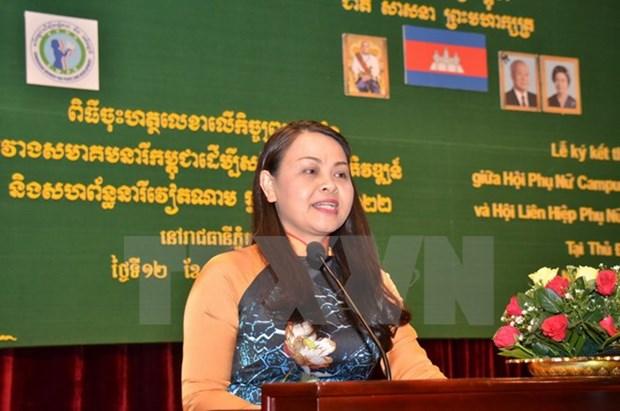 Presidenta de Union de Mujeres de Vietnam se entrevista con jefe interino de Estado de Camboya hinh anh 1