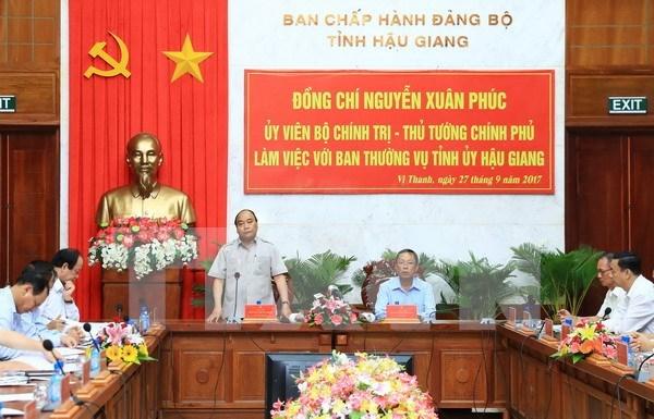 Premier vietnamita exhorta a desarrollar agricultura inteligente en provincia de Hau Giang hinh anh 1