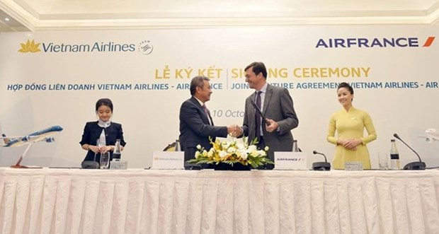 Vietnam Airlines y Air France firman acuerdo de cooperacion integral hinh anh 1