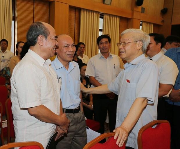 Maximo dirigente partidista de Vietnam dialoga con electores hinh anh 1