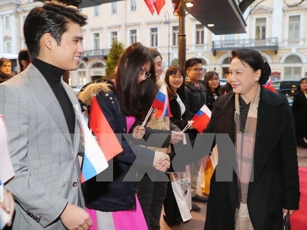 Presidenta de Asamblea Nacional de Vietnam llega a Rusia para IPU-137 hinh anh 1