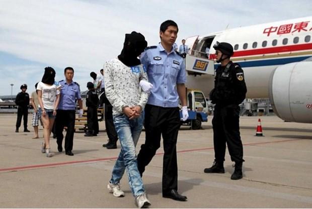 Camboya deporta a 61 sospechosos chinos de estafa telefonica por Internet hinh anh 1