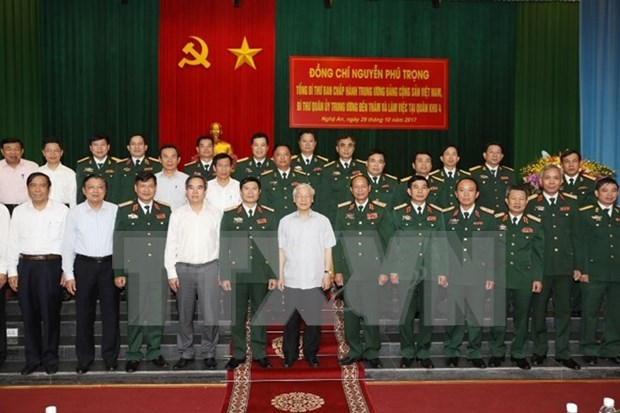 Maximo dirigente partidista de Vietnam destaca esfuerzos de Zona Militar 4 hinh anh 1
