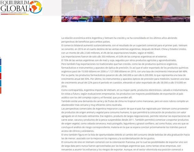 Prensa argentina destaca logros economicos de Vietnam hinh anh 1