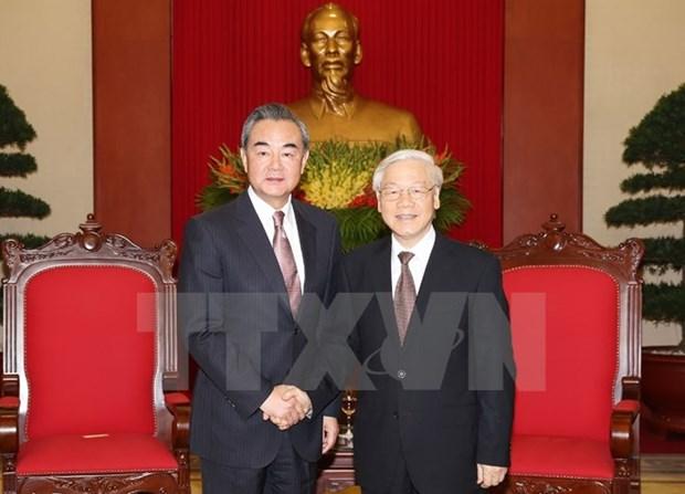 Maximo dirigente partidista de Vietnam recibe a canciller chino hinh anh 1