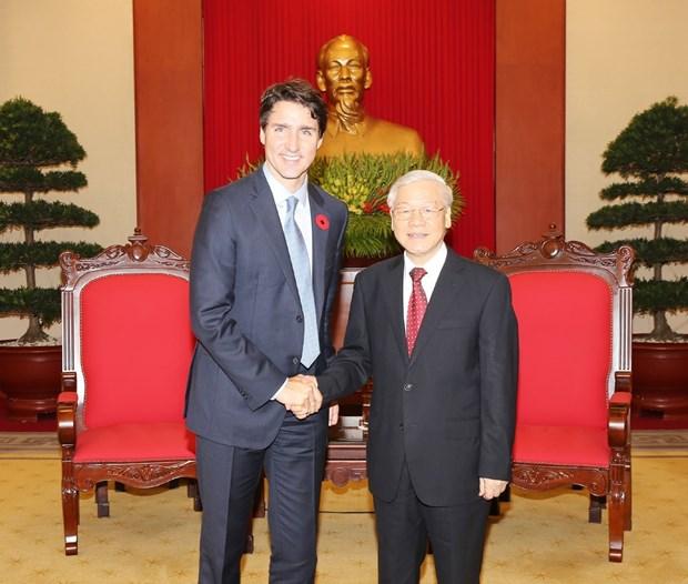 Dirigente paridista vietnamita recibe a primer ministro de Canada hinh anh 1