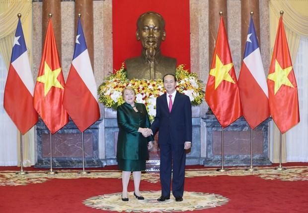 Presidente vietnamita recibe a Michelle Bachelet hinh anh 1