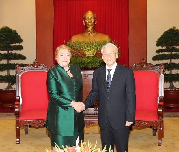 Maximo dirigente partidista de Vietnam recibe a Michelle Bachelet hinh anh 1