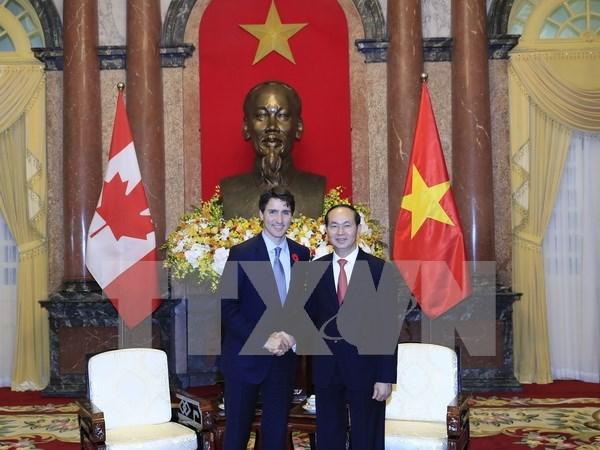 Presidente de Vietnam destaca visita del premier canadiense hinh anh 1