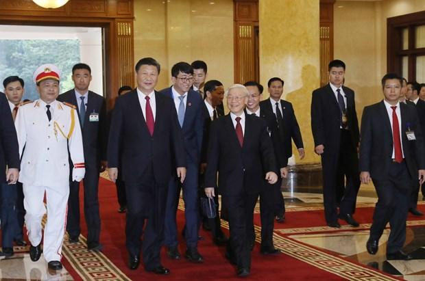 Secretario general del Partido Comunista de Vietnam se reune con Xi Jinping hinh anh 1