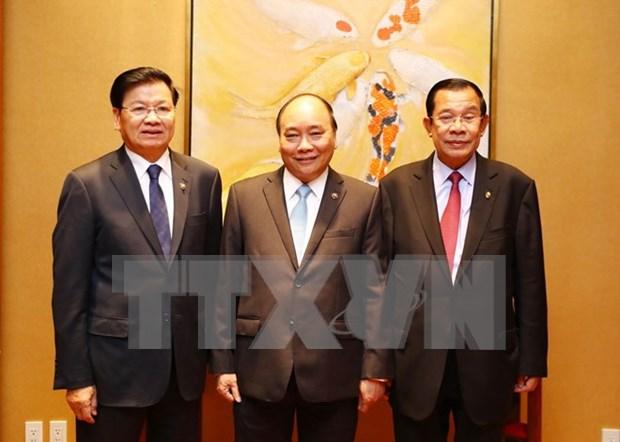 Primer ministro de Vietnam se reune con homologos de Laos y Camboya hinh anh 1