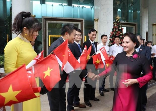 Presidenta del Parlamento vietnamita inicia visita oficial a Singapur hinh anh 1