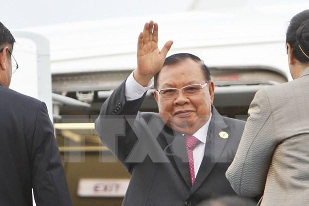 Secretario general de PPRL y presidente de Laos llega a Hanoi hinh anh 1