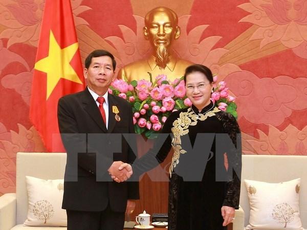 Presidenta del Parlamento vietnamita aboga por mayor cooperacion judicial con Laos hinh anh 1