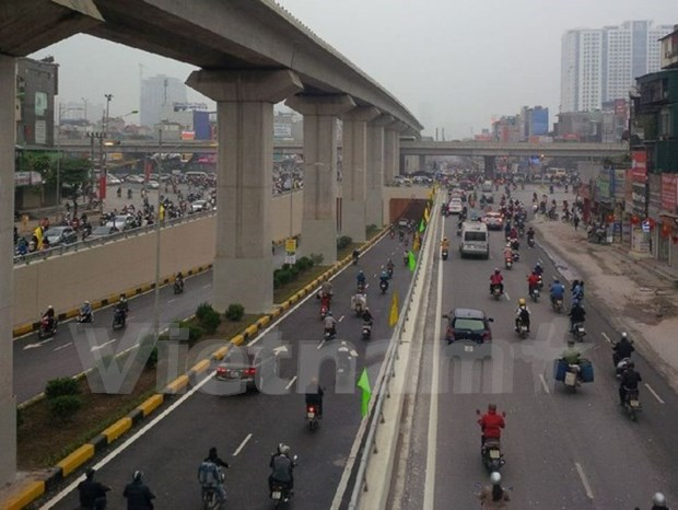 Inauguran en Hanoi construccion de viaducto en cinturon 3 hinh anh 1