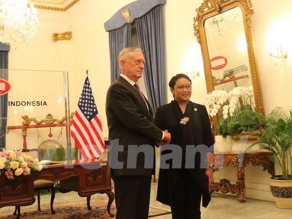 Canciller indonesia se reune con secretario de Defensa estadounidense hinh anh 1