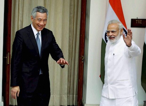 Dirigentes de India y Singapur debaten cooperacion economica hinh anh 1