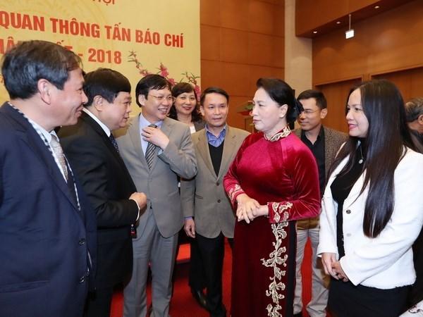 Presidenta del Parlamento destaca papel de prensa para acercar electorado a diputados hinh anh 1