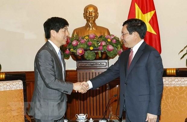 Vicepremier vietnamita recibe a alto funcionario japones hinh anh 1