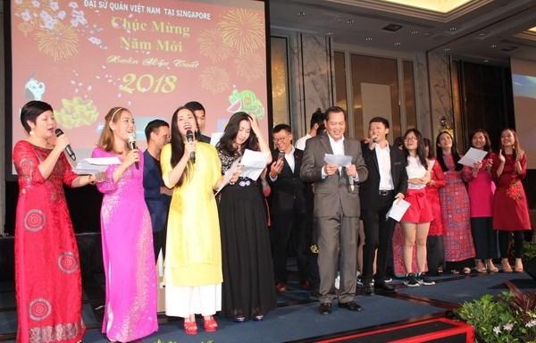 Vietnamitas en Singapur celebran el Ano Nuevo Lunar hinh anh 1