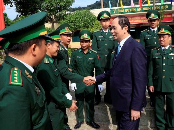 Presidente vietnamita felicita a pobladores de Kon Tum en ocasion del Tet hinh anh 1