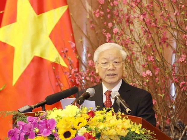 Maximo dirigente partidista de Vietnam extiende felicitaciones del Tet al pueblo hinh anh 1