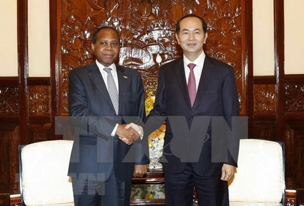 Presidente de Vietnam recibe al embajador mozambiqueno hinh anh 1