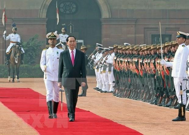 Efectuan en la India solemne acto de recibimiento al presidente de Vietnam hinh anh 1