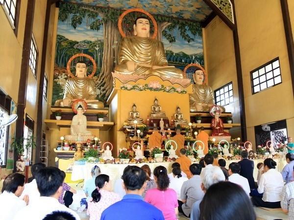 Vietnamitas residentes en Laos oran por paz en el mundo hinh anh 1