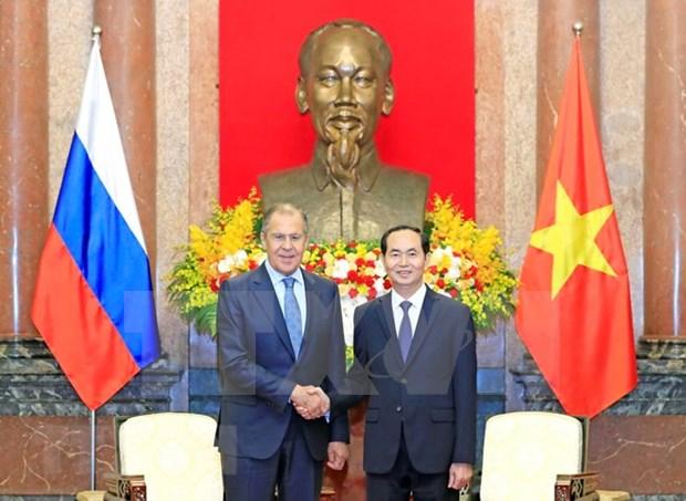 Presidente de Vietnam recibe al canciller ruso, Serguei Lavrov hinh anh 1