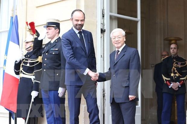 Maximo dirigente partidista de Vietnam se reune con primer ministro frances hinh anh 1