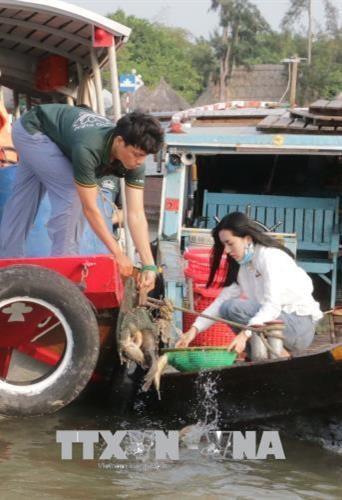 Ciudad vietnamita libera decenas de toneladas de alevines a habitat natural hinh anh 1