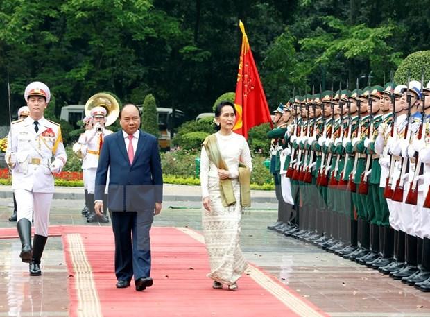Consejera de Estado de Myanmar concluye visita a Vietnam hinh anh 1