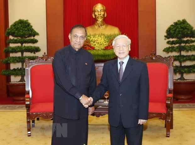 Lider partidista de Vietnam recibe al presidente del Parlamento de Sri Lanka hinh anh 1