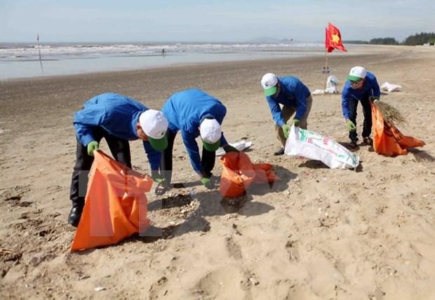 Unen manos para limpiar playas de Ha Long hinh anh 1